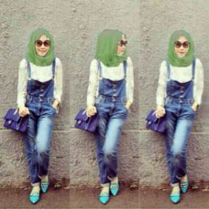 Ip1325 set jumpsuit vivere - 135rb, fit to L, panjang celana 85cm bahan jeans washed + inner + pasmina