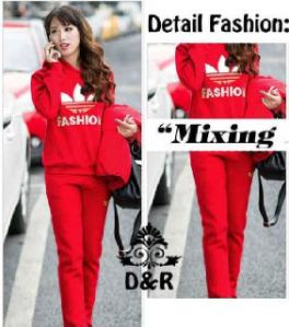 Ip1327 stelan adidas fashion -  62rb, atasan hoddie + celana bahan spandek, fit to L