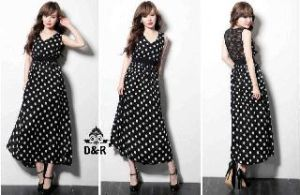 Ip1328 dress dotty @62rb, bhn katun kombi brukat + sleting di blkg, fit to L