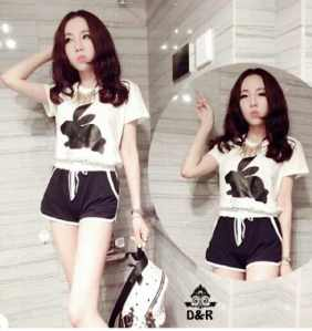 Ip261 stelan rabbit - 50rb (atasan+celana) bahan spandek, fit to L