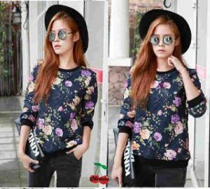 Ip483 blouse  heyni flowers - 42rb sz L46 64 bahan spandek
