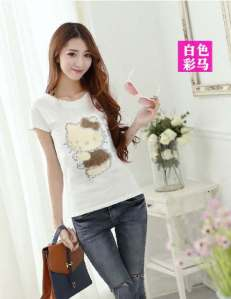 Ip523 blouse hk coklat - 36rb sz L44, P64 spandek + aplikasi kitty