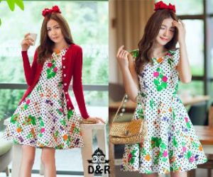 Ip546 dress millie - 66rb fit to L, dress katun  belakang sleting + cardi spandek