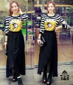 Ip566 stelan sunflower - 65rb sz fit to L, atasan + rok spandek