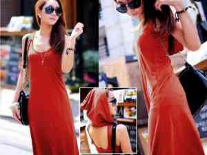 Ip621 long dress hoddie - 50rb sz L50 P130 bahan spandek