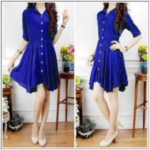 Ip640 dress stefi biru - 60rbb, fi L, bahan katun rayon