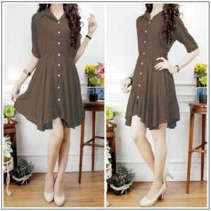 Ip642 dress stefi coklat - 60rbb, fi L, bahan katun rayon