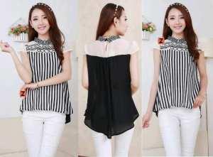 Ip673 karen blouse  - 50rb fit L+ bahan chiffon + bordir dan salur  + belakang katun rayon
