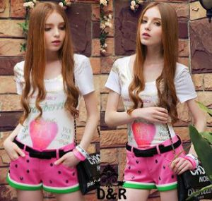 Ip756 stelan strawberry - 55rb (atasan + celana + ikat pinggang ) bahan spandek fit to L