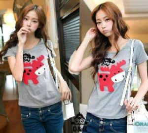 Ip758 deer shirt - 36rb sz L45 P62 bahan spandek