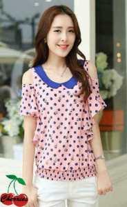 Ip760 kami blouse - 42rb bahan sz L45 P62 spandek fullprint