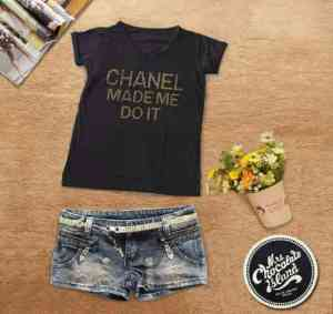 Ip781 chanel made me doit tee - 28rb sz L50 P68 bahan spandek (fit XL)