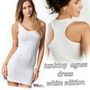 Ip787 tanktop Agnes dress white edition - 25rb sz L45 P75 bahan spandek
