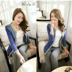 Ip858 blazer renny dark blue -  58rb sz L50 P60 super denim rayon + list renda