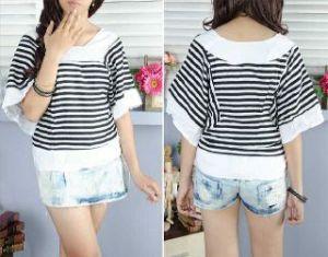 ip898 blouse batwing stripe - 35rb sz Ld98cm, pj 55cm bahan katun rayon, lengan pendek