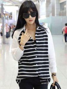 Ip899 hem stripe black - 53rb sz Ld98cm, pj 60cm baham katun rayon, lengan panjang