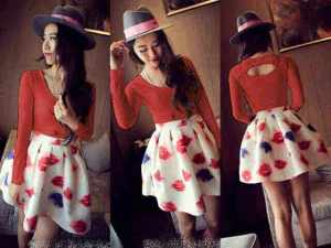 Ip933 dress red lips - 46rb fit L mat spandek printing
