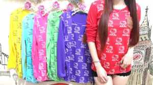 Ip941 kitty long sleeve - 15rb sz L44 P62 bahan katun (ready ungu, kng, pink)