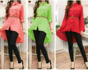 Ip965 Kemeja Penguin + belt @58rb, bahan katun rayon, fit L