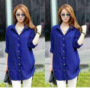 Ip981 kemeja naomy blue - 55rb fit L bahan katun rayon