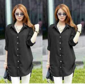 Ip982 kemeja naomy black - 55rb fit L bahan katun rayon