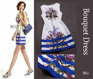 Ip9846 bouquet dress - 95rb sz L42 P80 bahan cotton thick embro IMPORT PREMIUM BANGKOK(1)