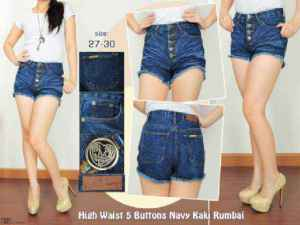 Ip9917 highwaist 5 button navy - 90rb sz M, L dan XL import bangkok