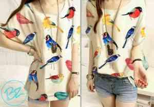 Ip9979 blouse bird @38rb sz  L48 P66 bahan katun