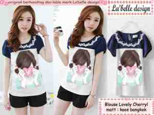 Ip9988 blouse lovely cherry - 38rb sz L42 P60 bahan kaos bangkok