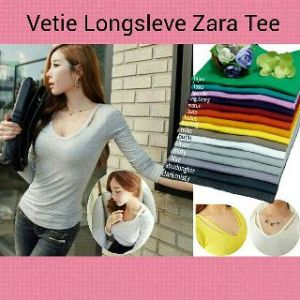 Ip9992 vetie longsleve zara tee - 40rb fit L spandek cotton super