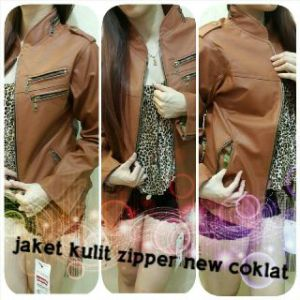 Jaket kulit zipper new coklat - 120rb siza M-XL bahan semi kulit import