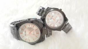 Jam tangan couple alba black inside white - 180rb, kw super, tali rantai dark grey, free 2 box dan 2pc batre cadangan