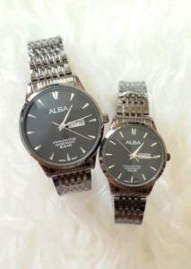 Jam tangan couple alba date - 200rb, kw super, tali rantai dark silver, free 2 box dan 2pc batre cadangan